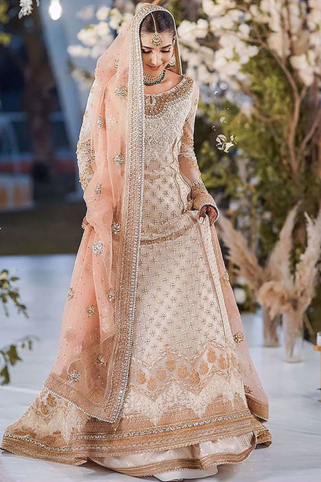 Picture of Rabab Hashim wearing Maheroo from our intimate wedding collection, isn't Rabab a total head turner
