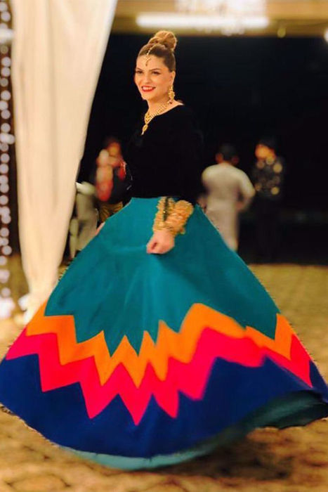 Picture of Our beautiful client @original_vajeeha looks stunning in this trendy lehnga colourful chevron chattapati