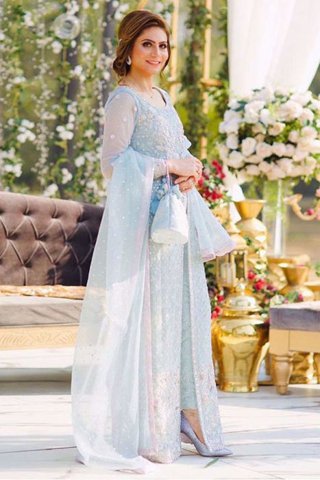 Picture of @Gulehinadanish stuns in our formals design Scarlet Symphony customised in ice blue color